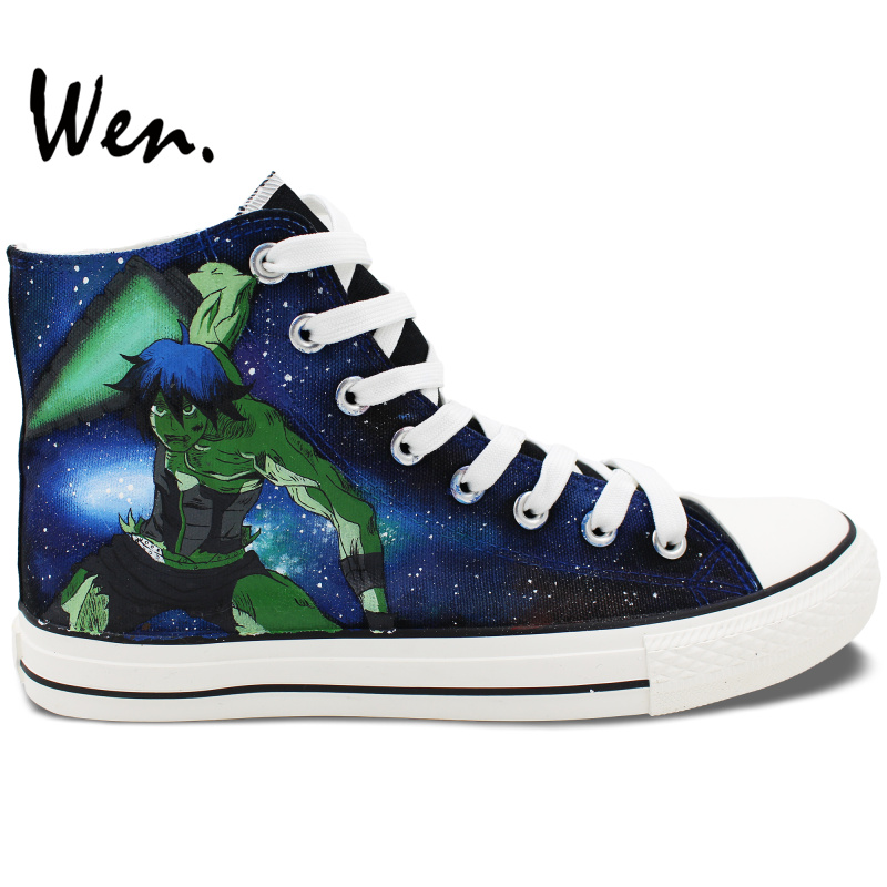 Wen Custom Design Hand Painted Shoes Gurren Lagan Robot High Top Men Women's Canvas Sneakers for Christmas Gifts wen unisex hand painted shoes custom design galloping horse men women s high top canvas shoes christmas gifts birthday gifts