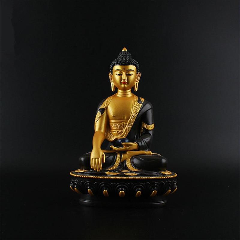 Auspicious Triratna Buddha Statue Resin Coloured Drawing Figurine 21cm Amitabha Figure of Buddha Solemn Temple