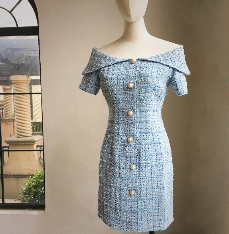 Модные брендовые женские высокого класса люкс Весна осень Элегантные повседневные пикантные слово воротник женские вечерние знакомства платье - 2