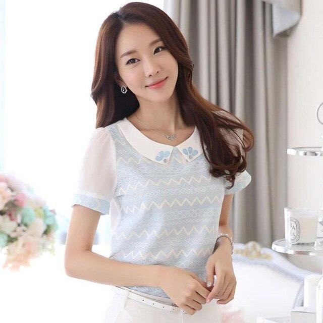 2015 Women Summer Shirt Diamonds Peter Pan Collar Blouse Ladies