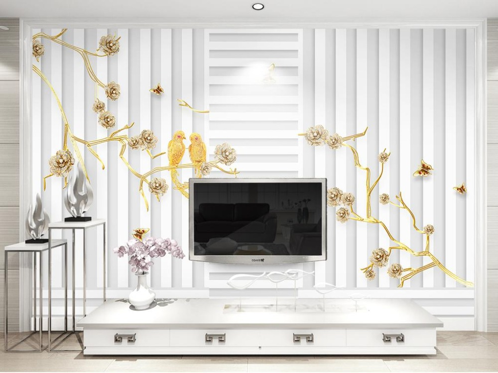 European 3D Stereoscopic relief flower Wallpaper Mural gold and white Luxury 3D Wallpaper For Living room Deskdrop Wallpaper 3d model relief for cnc in stl file format animals and birds 2