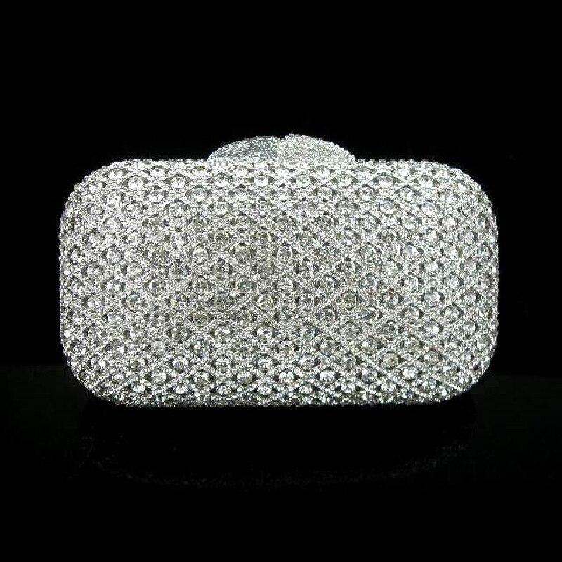 A6607 Crystal Lady Fashion Wedding Bridal Party Night Silver hollow Metal Evening purse clutch bag handbag case box forex b016 6607