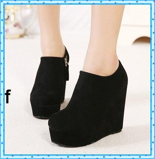 Cuñas botas de las bombas de la motocicleta botines de tobillo otoño invierno mujeres tacones altos ladies plataforma zapatos mujer negro C636