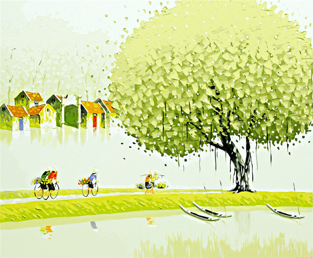 Poważnie Jasne wiosenne drzewa krajobraz obraz olejny zdjęcia według QF82