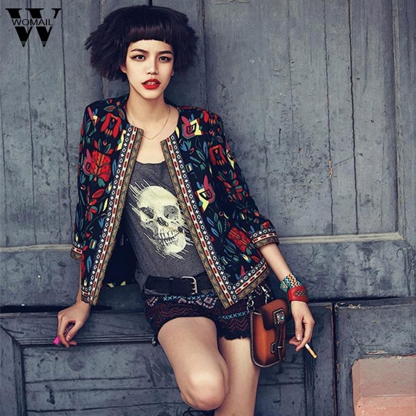Womail jacket winter women jeans jacket women jackets Women Slim Floral Outwear