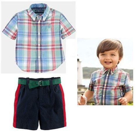 019e567a7334 Summer baby boys brand POLO t shirt + shorts set New kids fashion polo  Horse Embroidery plaid shirt pants sets Children polo top