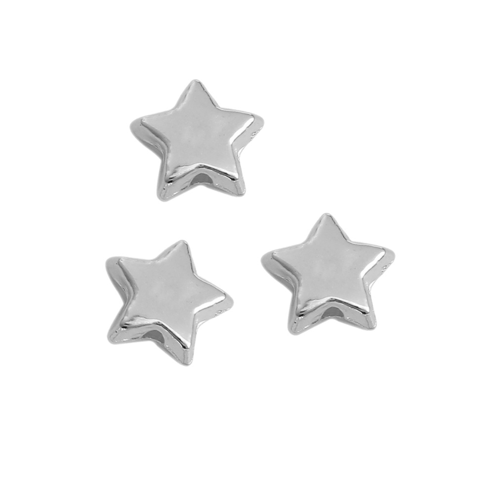 DoreenBeads CCB Plastic Silver Beads Pentagram Star Style DIY Components About 10mm x 9mm( 3/8), Hole: Approx 1.5mm, 300 PCs