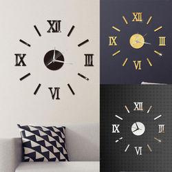 3D DIY Zegar Ścienny Home Nowoczesne Dekoracje Kryształowe Lustro Vinyl Art Naklejki|Zegary ścienne|Dom i ogród -