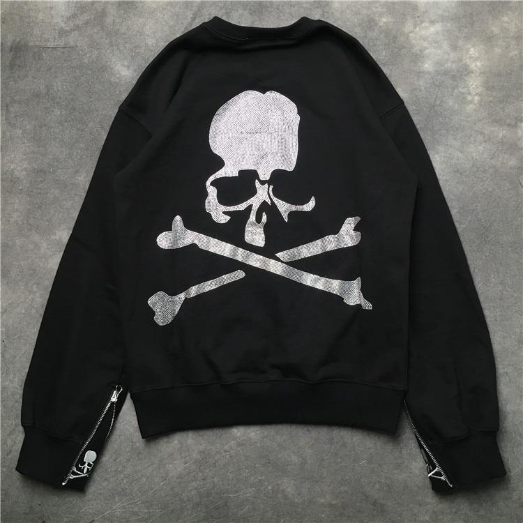 2019 TOP Best Quality Mastermind Japan MMJ Cuff Zipper Skull Printing Women Men Unisex Pullover Hoodies Hip Hop Men Sweatshirts