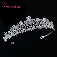 Classic Sparkling Big Cubic Zircon Wedding Tiara CZ Princess Bridesmaids Bridal  Diadem Crown For Women Party Head Piece RE933