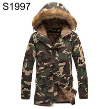 Camouflage Parka Mens Winter Jackets Warm Hooded With Fur Collar Cotton Padded Coat Camo Quilted Men Jacket Plus Size M-5XL