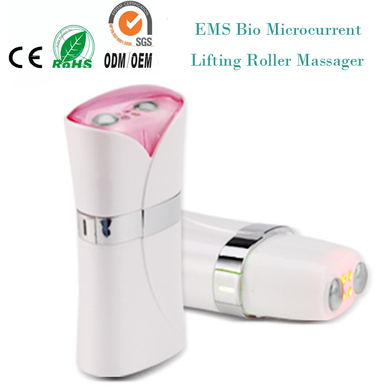Electric Iontophoresis Red Led Light Photon Therapy EMS Microcurrent Face Lifting Skin Tightening Facial Tonner Beauty Device