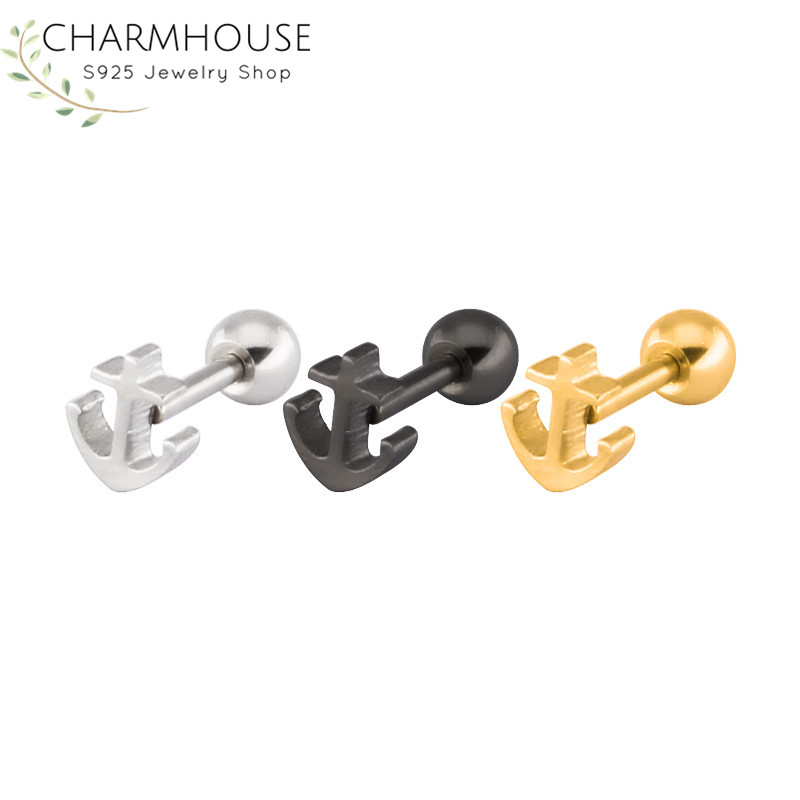 Personality Viking Anchor Stud Earrings for Men Women 316L Stainless Steel Man Earring Fashion Male Jewelry Gifts for Friend