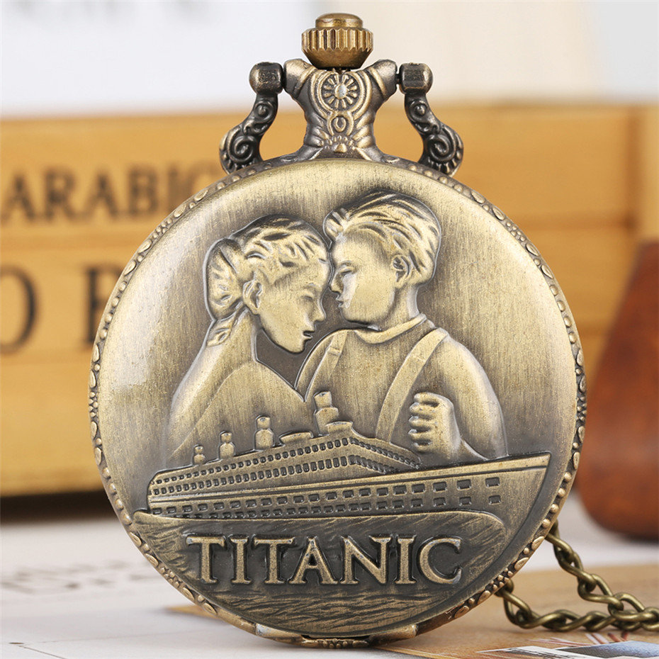 Classic Romantic Disaster Movie Extension Quartz Pocket Watch Bronze Full Hunter Necklace Pendant Clock For Men Women Reloj 2019