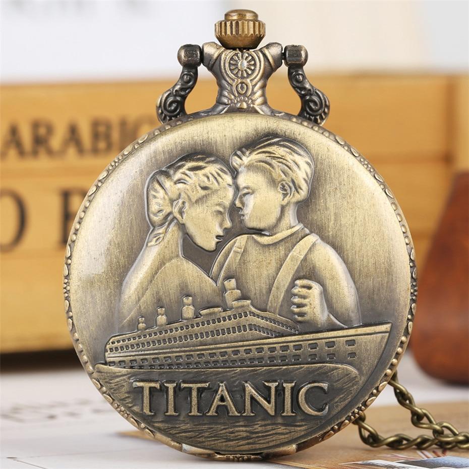 Classic Romantic Disaster Movie Extension Quartz Pocket Watch Bronze Full Hunter Necklace Pendant Clock For Men Women Reloj 2019