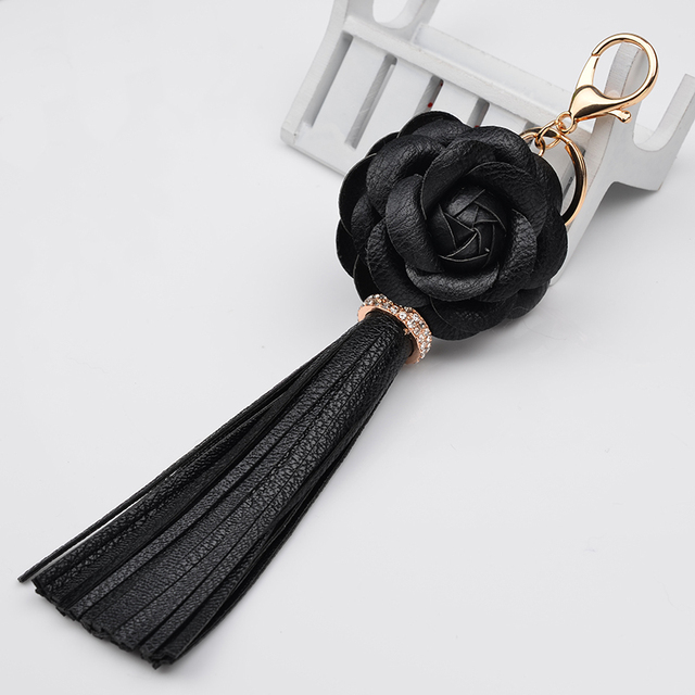 Brand Camellia  Flower Leather Tassel Key chain Charm Handbag Accessories Ornament