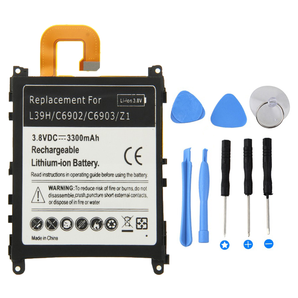 3300mah Top Quality Battery For Sony Xperia Z1 L39H C6902 C6903 Z 1 Mobile Phone Battery For Sony Z1 Battery +Tool