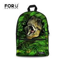 FORUDESIGNS Designer Backpacks Boys School Bags Dinosaur Pattern Travel Bags for Children Leopard Animals Printing Backpacks
