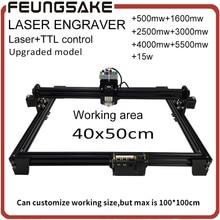 15 watt laser maschine mit TTL, 5500 mw laserengraver, 1600 mw 2500 mw DIY Mini Laser Gravur maschine, 40*50 cm Gravurfläche mit PMW