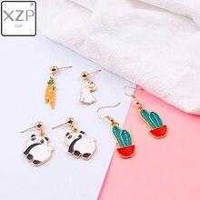 XZP Creative Cartoon Enamle Cute Panda Rabbit Charm Hanging Dangle Earring Simple Cactus Wild Drop for Women Girls Gifts