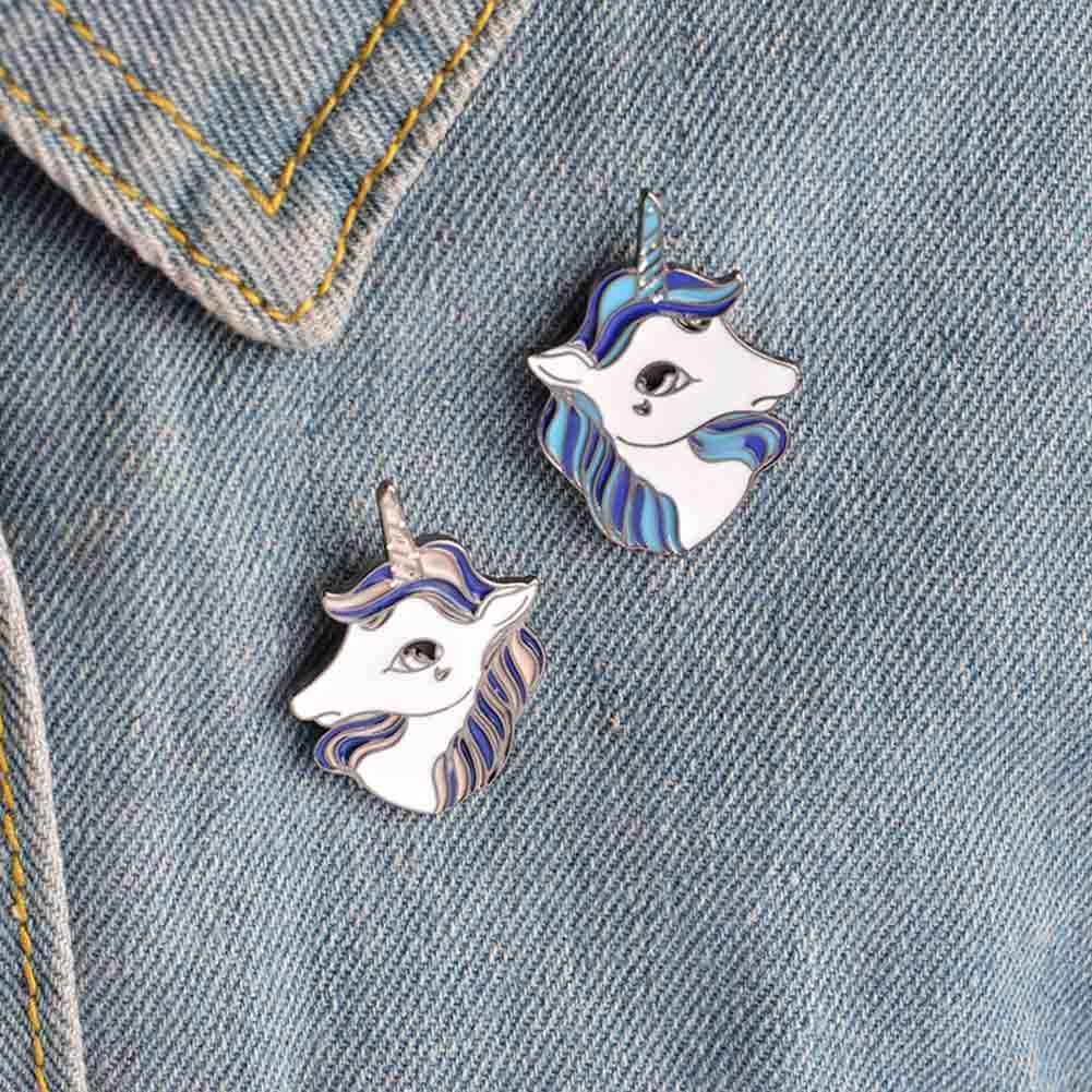 ファッションユニークな馬ブローチピンボタン金属エナメル動物馬デニムジャケット襟バッジ女性女の子男性森林ジュエリーギフト