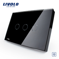 US AU Standard Livolo Black Pearl Crsytal Glass Panel 3Gangs 1Way 220V 50Hz Touch Screen Home