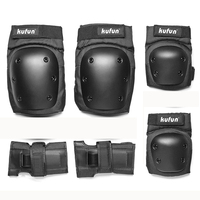EVA Professional 6pcs/set Skating Gear Set Hand Pads Bicycle Skateboard Ice Roller Knee Elbow Protector Thicken Adult Kids Black