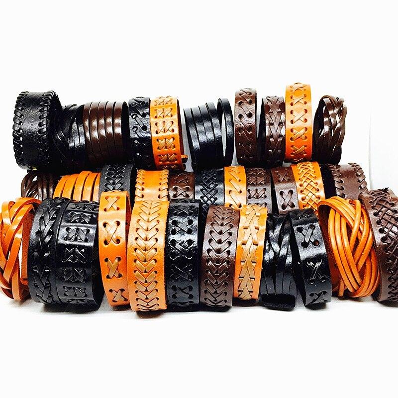 Wholesale 20pcs leather bracelet men cuff Genuine wristband women unisex Black Brown handmade braid Wide Fashion bangle jewelry