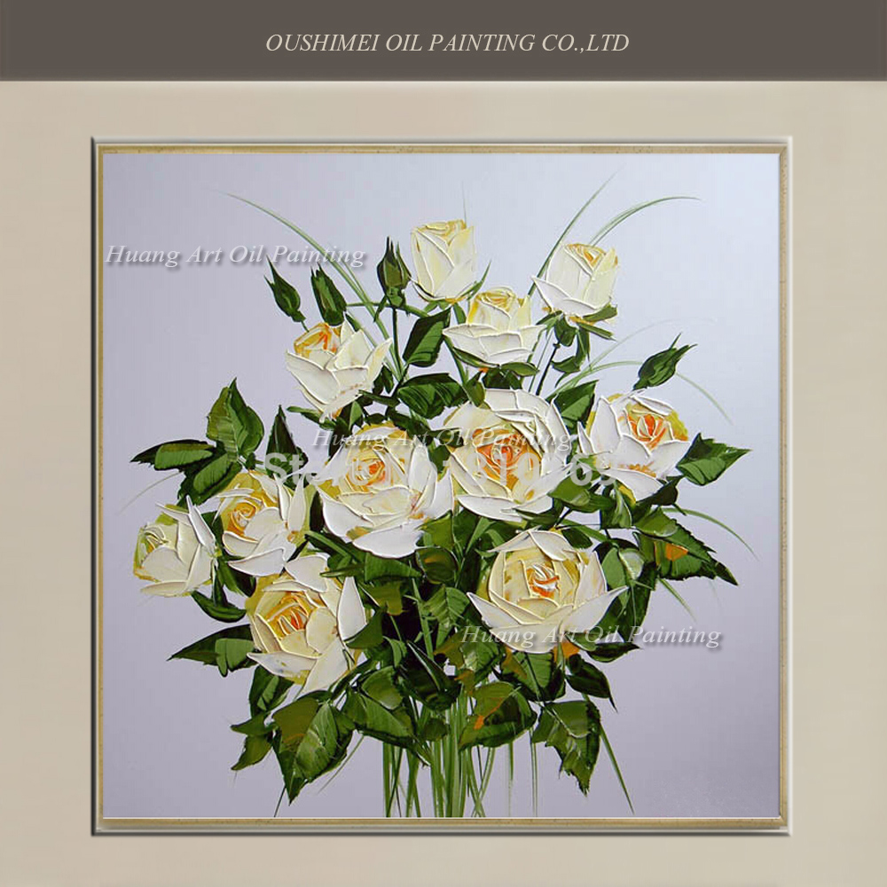 Wholesale Handmade Modern Simple White Rose Oil Painting Wall Decor