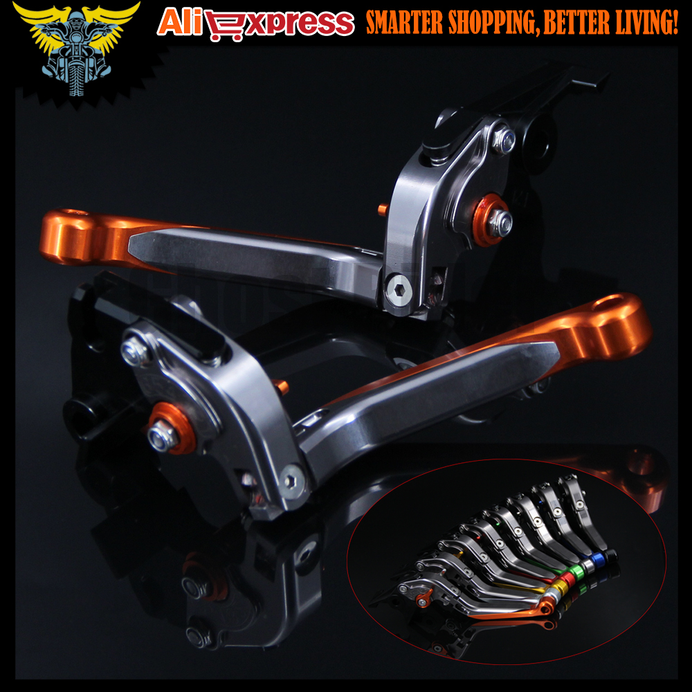 Orange+Titanium Adjustable Extendable Motorcycle Brake Clutch Levers For Yamaha FZ6 FAZER 2004 2005 2006 2007 2008 2009 2010 aftermarket free shipping motorcycle parts eliminator tidy tail for 2006 2007 2008 fz6 fazer 2007 2008b lack