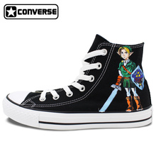 Converse Skateboarding Shoes Brand All Star Men Women Hand Painted Shoes Custom Designer The Legend of Zelda Canvas Sneakers