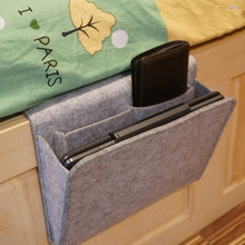 2 Pockets bed Organizer Bedside Caddy Felt Bed Storage Bag with Small for storage Tablet Magazine Cellphone