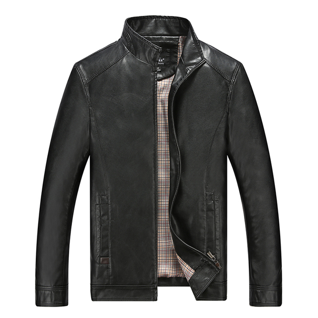 New Fashion Slm Fit Black Dark Brown Color Mens Leather Jackets And Coats Good Quality Stand Collar Jaqueta De Couro