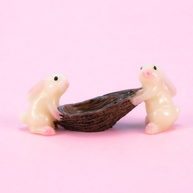 Mini Rabbit Ornament Miniature Figurine Plant Fairy Synthetic Resin Hand-painted Rabbit Home Decoration Gift 2