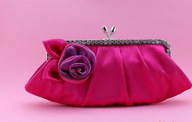 Rose pink satin evening bags with flower women party handbag