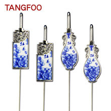 Blue and white porcelain bookmark Chinese blue flower ceramic Beijing Opera mask bookmark Chinese style business gift home decor