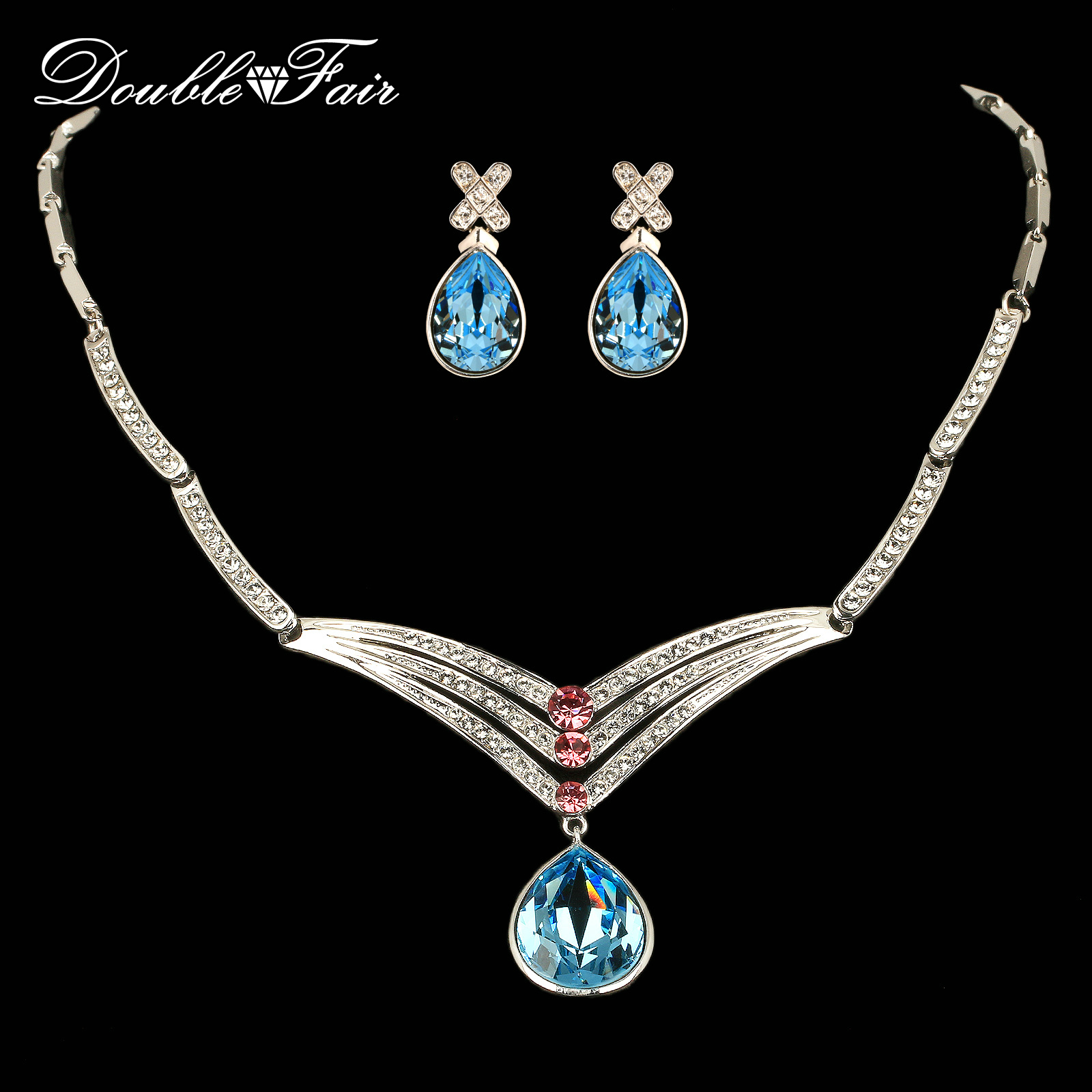 Big African Blue Crystal Necklaces & Pendant Earrings Sets Wholesale Crystal Fashion Wedding Jewelry for Women DFS310 viennois new blue crystal fashion rhinestone pendant earrings ring bracelet and long necklace sets for women jewelry sets