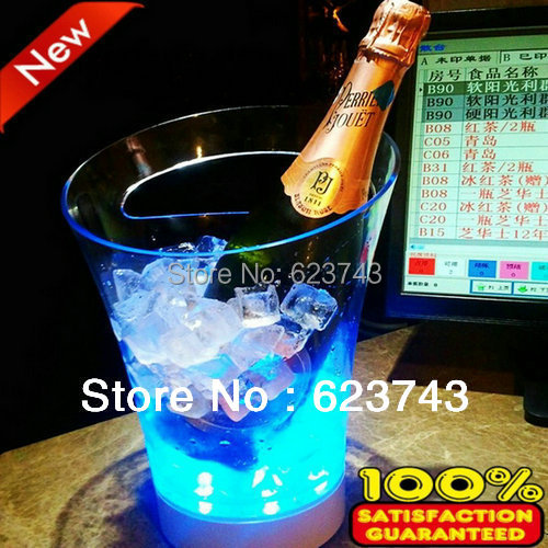 Free Shipping Plastic Led Ice Bucket,color Changing Plastic Ice Bucket, Luminous Ice Pail Ice Cooler,glow Beer Cask,wine Barrel