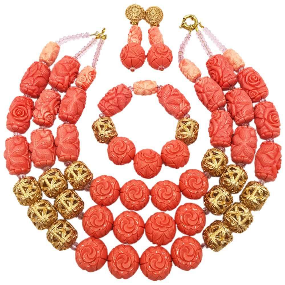 Herrliche Rosa Künstliche Korallen Perlen Afrikanischen Schmuck Set Halskette Set Nigerian Hochzeit Braut Schmuck-Sets für Bräute ACB-29