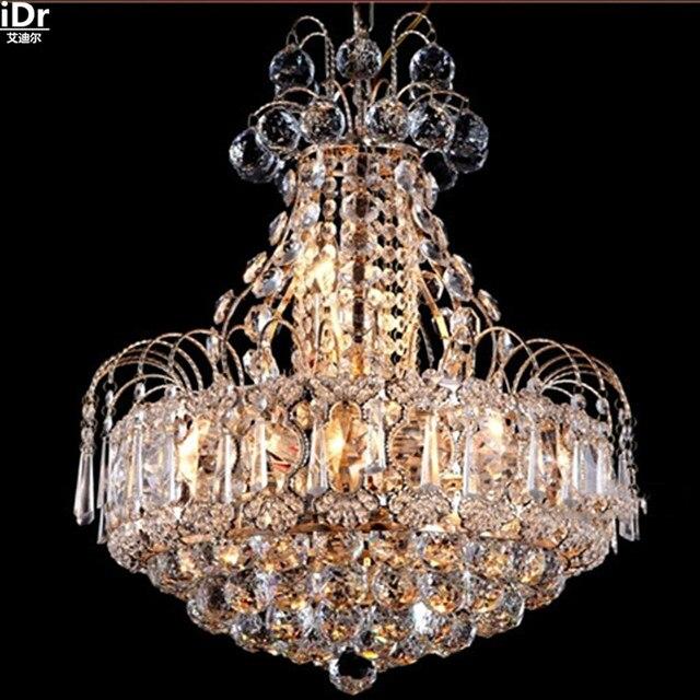 US $598.0 50% di SCONTO|Moderno e minimalista ristorante lampada lampadario  camera da letto lampadario di cristallo oro S Hotel luci LED oro Lampadari  ...