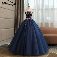 Mbcullyd vestidos de 15 anos Navy Blue Quinceanera Dresses 2019 With Flowers Puffy Tulle Dubai Arabic Ball Gown Sweet 16 Dresses