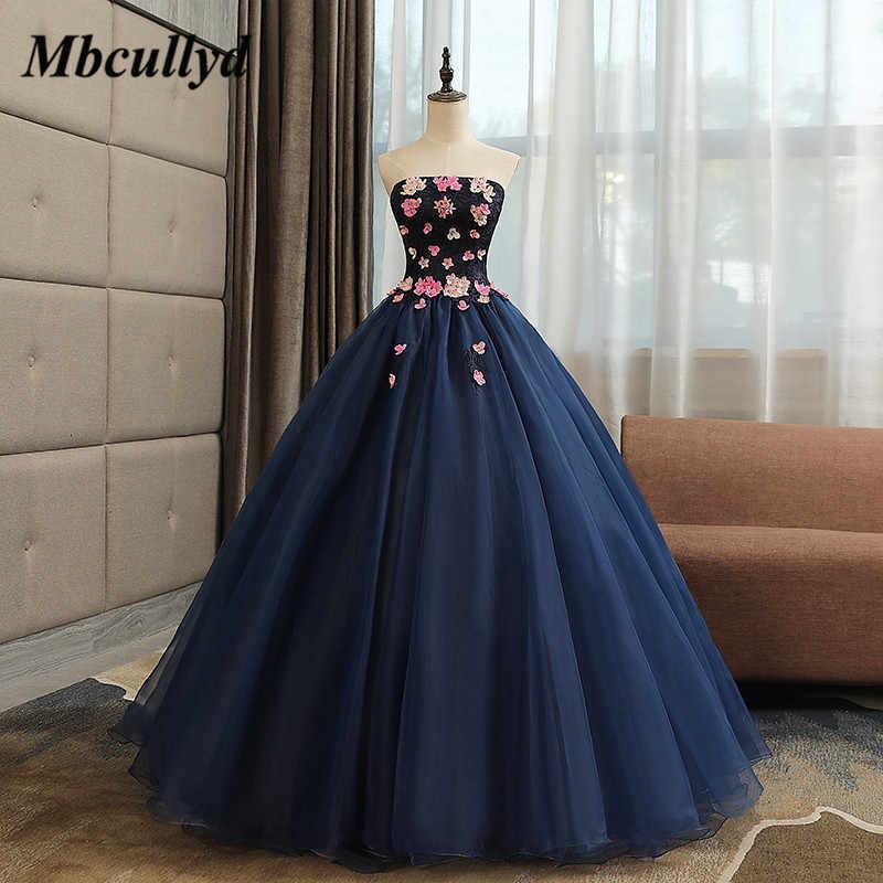 Vestidos Mbcullyd De 15 Anos Azul Marino Quinceañera Vestidos 2019 Con Flores Puffy Tul Dubai Vestido De Baile árabe Dulce 16 Vestidos