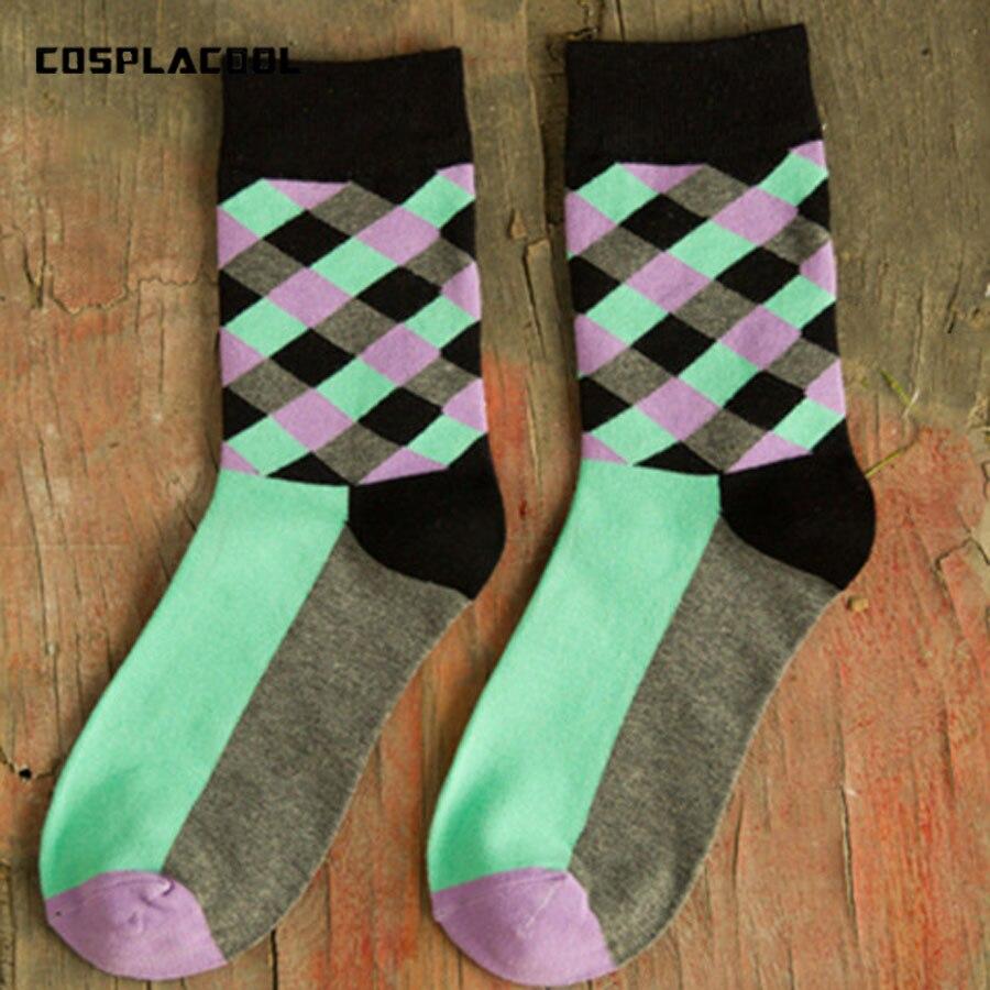 [COSPLACOOL] High Quality New Brand Socks British Style Plaid Socks Gradient Color Men Cotton Argyle Socks