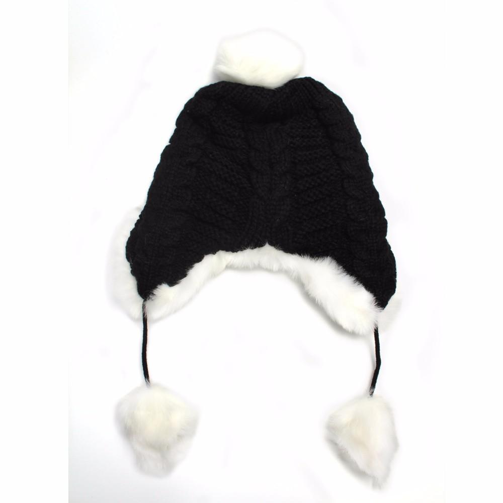 Woman Beanie Knitting Hat 2016 Happy Christmas Hats Bonnet Ladies Pompom Fur Snow Warm Skullies New Women\'s Winter Accessories (2)