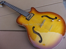 New Classical Acoustic semi hollow Electric Guitar Anti-stringing hole best quality in Cherry sunburst 101208