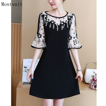 M-5xl Black Lace Dress Floral Embroidered Sexy Vintage Elegant Party Beach Dresses Flare Sleeve O-neck Vestidos 2018 Plus Size