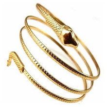 Punk Fashion Coiled Snake Spiral Upper Arm Cuff Armlet Armband Gold Silver Color Bangles Bracelet Women Jewelry Pulseras(China)