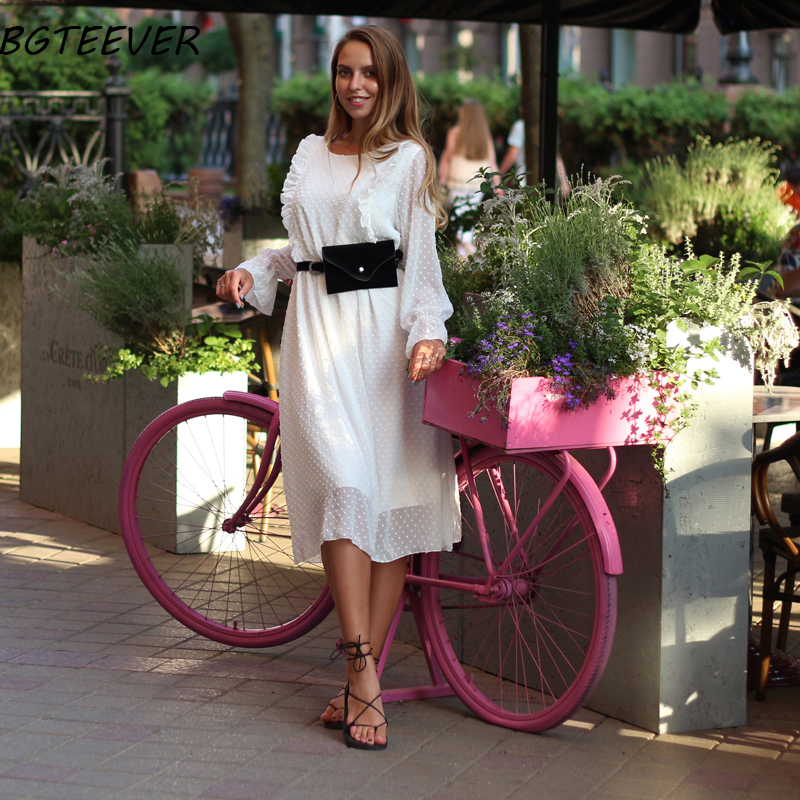 BGTEEVER Ruffles Polka Dot Women Chiffon Dress Elastic Waist Flare Sleeve Female Long Vestidos A-line White Dress 19 5