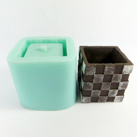 Silica gel Silicone forms Geometric square pots Lattice pattern mold Concrete cement molds for home decorations