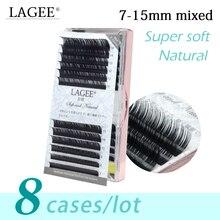 LAGEE 8 trường hợp 7 15mm hỗn hợp chất lượng cao giả chồn Cá Nhân lông mi mở rộng màu đen lông mi giả mềm mại tự nhiên new thiết kế